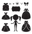 Princess dress silhouettes set Cartoon black and vector image