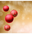 red glitter christmas balls on beige background vector image vector image
