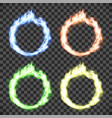 ring on fire set of circle flame patterns vector image