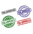 scratched textured fda approved seal stamps vector image