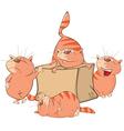 Set of Cartoon Cute Cats and Box vector image vector image