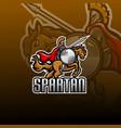 spartan with horse jump esport mascot logo vector image