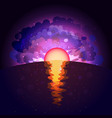 sunrise on infinite space background sunset sea vector image