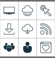 web icons set with virtual monitor favorite and vector image vector image
