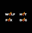 wolf dog fox tail or hot flame fire text type vector image vector image