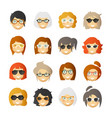 women with rosy cheeks in glasses and sunglasses vector image vector image
