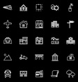 Real estate line icons on black background vector image