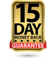 15 day money back guarantee golden sign vector image vector image