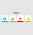 4 present filled icons set isolated on infographic