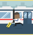 african businessman running and missed train vector image vector image