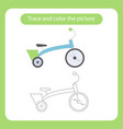 bicycle with simple shapes trace and color the vector image vector image