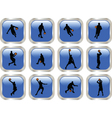 blue button with basketball player vector image vector image