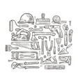 building tools hand-drawn sketch construction vector image
