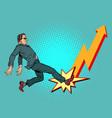 businessman chart up success economic growth vector image