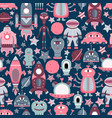 cartoon seamless pattern with flat aliens vector image vector image