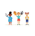 children with hands puppets cartoon characters vector image