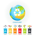 clean planet and waste recycling colorful banner vector image