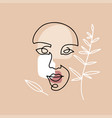 continuous line hand drawing female face vector image