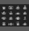 crown king vintage premium silver badge heraldic vector image vector image