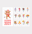 cute 2021 calendar template with cartoon animals vector image