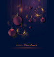 dark christmas greeting with baubles vector image vector image