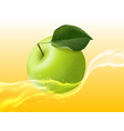 delicious juicy apple in splashes of juice vector image vector image