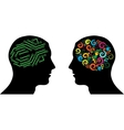 Different brain in heads vector image vector image