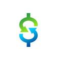 dollar sign arrow logo money business finance icon vector image