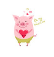 funny card design with cartoon pig with cup of vector image vector image