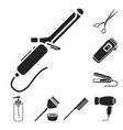 hairdresser and tools black icons in set vector image