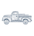 hand drawn engraved retro vintage truck vector image vector image