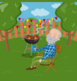 happy smiling grandpa grilling barbecue outside vector image vector image