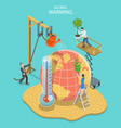 isometric flat concept of global warming vector image