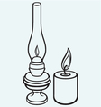 Kerosene lamp and candle vector image vector image