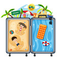 kids on summer vacation suitcase vector image