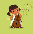 little girl playing cello on green background vector image vector image
