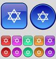 pentagram icon sign A set of twelve vintage vector image