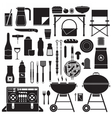 picnic and barbecue outline elements vector image vector image