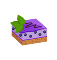 piece of fruit cake with blueberry glaze layer vector image vector image