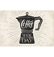 Poster coffee pot moka with hand drawn lettering vector image vector image
