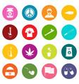 rastafarian icons many colors set vector image vector image