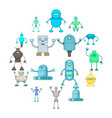 robot icons set cartoon style vector image vector image