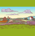 rural landscape green field village houses vector image