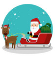 santa claus in the sled with gifts and deer vector image vector image