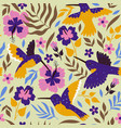 seamless pattern with hummingbirds and hibiscus vector image