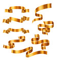 set golden metallic ribbons collection vector image