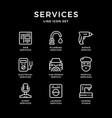 set line icons services vector image vector image