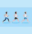 set men running exercise activity vector image