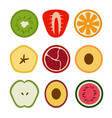 set of flat design of seasonal fruits icons vector image