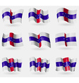 Set of Netherlands Antilles flags in the air vector image vector image